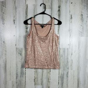 5/$25 Talbots sequin blush pink tank size M